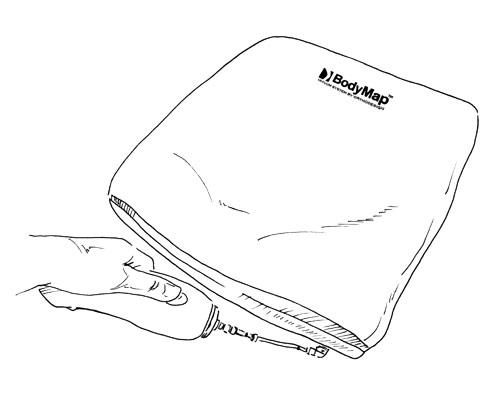 2. Включить насос нажатием кнопки и откачивать воздух до приобретения подушкой нужной твердости