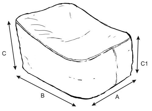 A – Szerokość poduszki B – Długość poduszki C – Wysokość całkowita poduszki C1 – Wysokość poduszki